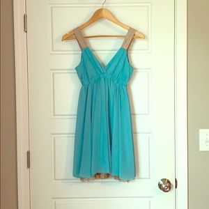 Blue with gold detail dress!